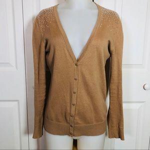 LOFT Sequin embellished tan cardigan